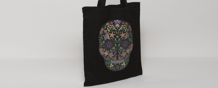 Skull DST print on a black tote bag