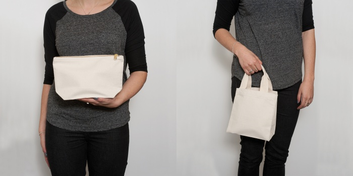natural zip purse and small shopper bag