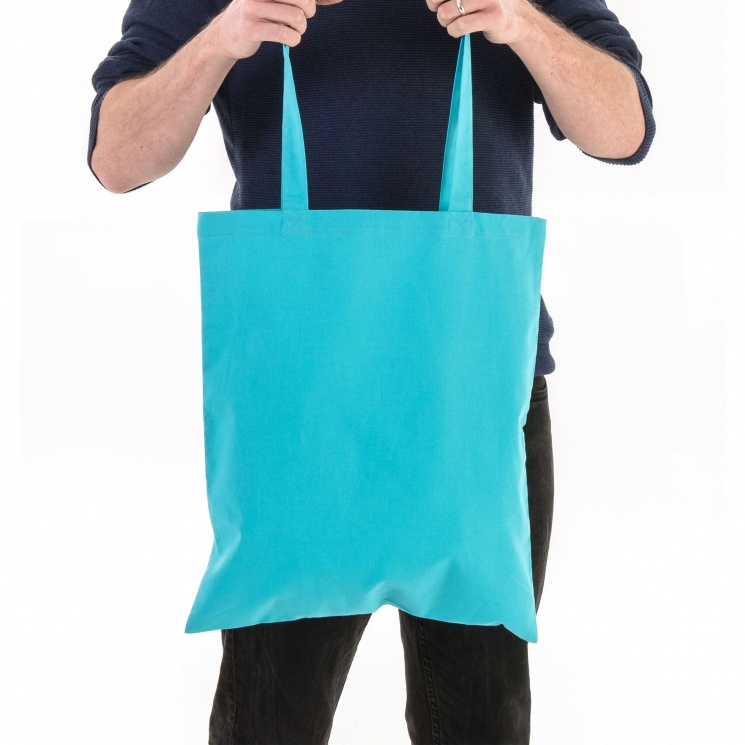 Aqua Blue Cotton Tote Bag