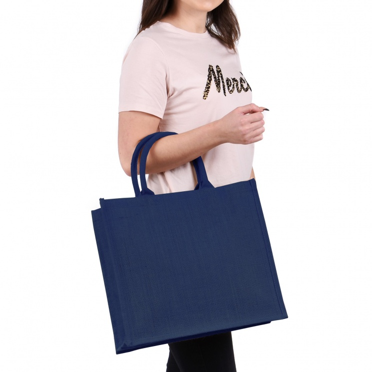 Large Navy Jute Bag