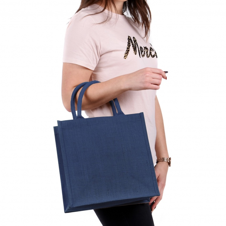 Medium Navy Jute Bag