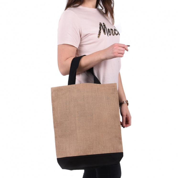 Contrast Jute Shopper Bag