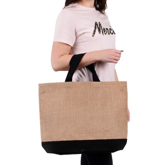 Large Contrast Jute Shopper Bag