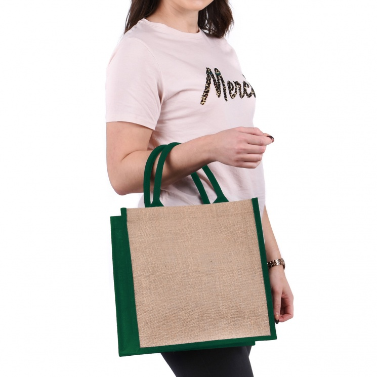 Green Gusset Medium Jute Bag