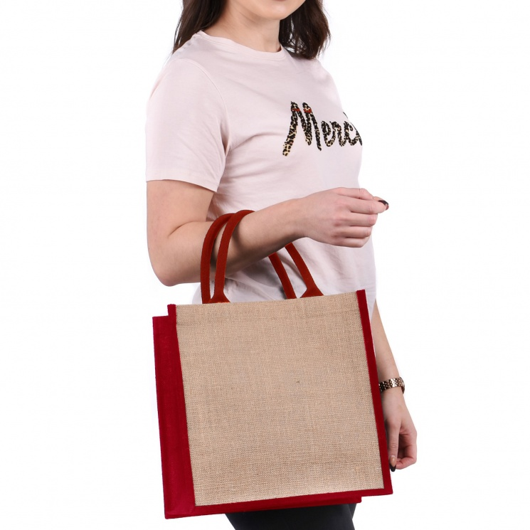 Red Gusset Medium Jute Bag