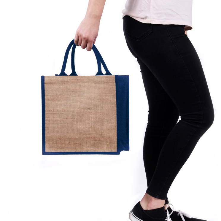 Navy Gusset Medium Jute Bag