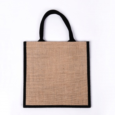 Black Gusset Medium Jute Bag