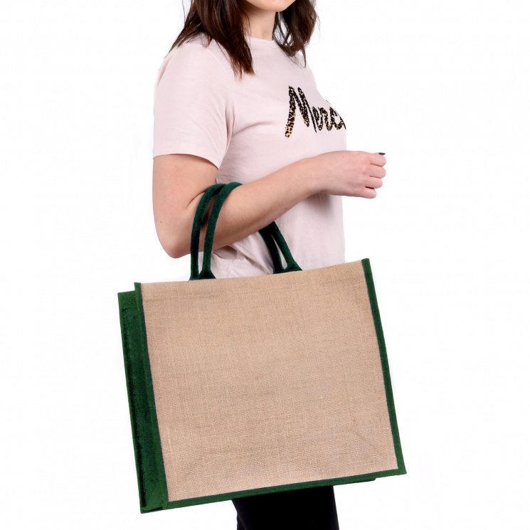 Green Gusset Large Jute Bag