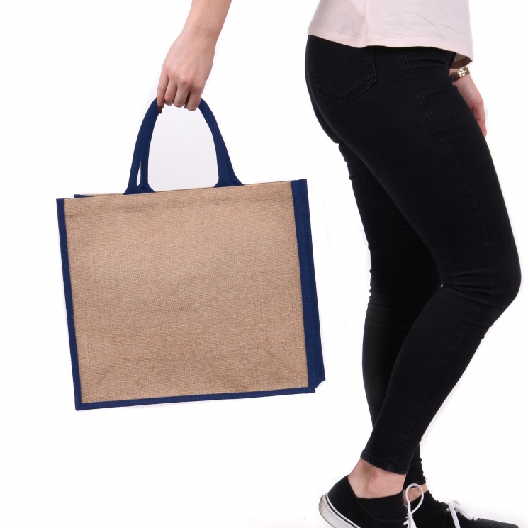 Navy Gusset Large Jute Bag
