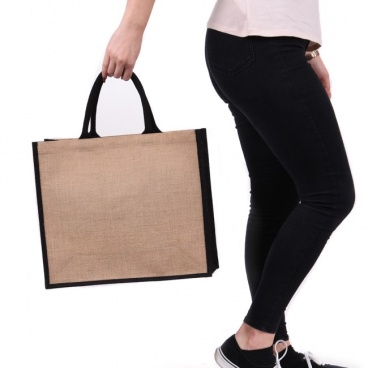 Black Gusset Large Jute Bag