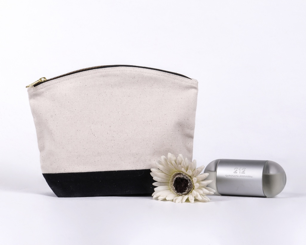 Natural and Black wash bag