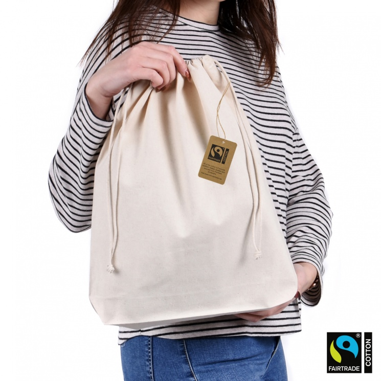 Premium Large Fairtrade & GOTS Organic Drawstring Bag